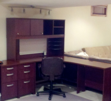 Our reconstructed office in the basement!