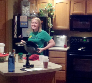 Hayley cooking up a storm for our hungry helpers!