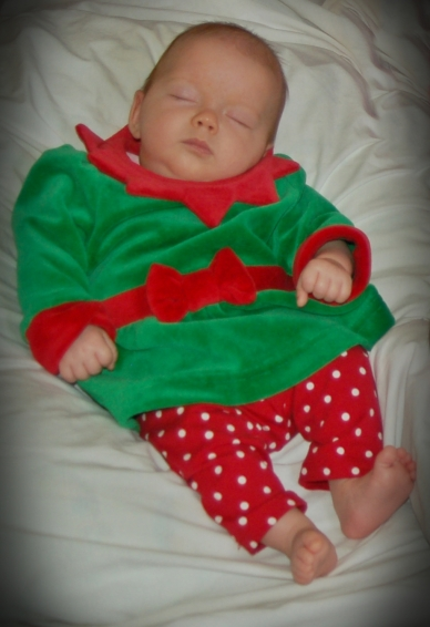 Ellie the elf is pooped from her long night building toys and spreading cheer!
