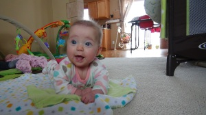 Lily enjoying some pre-meal tummy time.